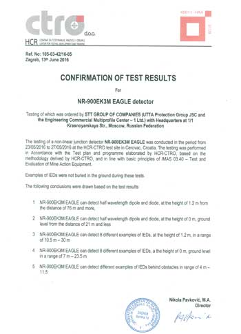Confirmation of test results for NR-900EK3M EAGLE detector
